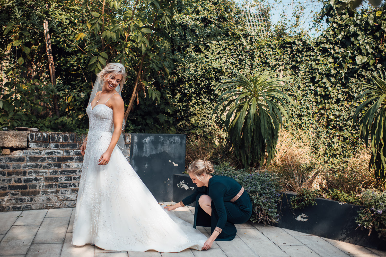 kleinfeld wedding dress in london pub wedding