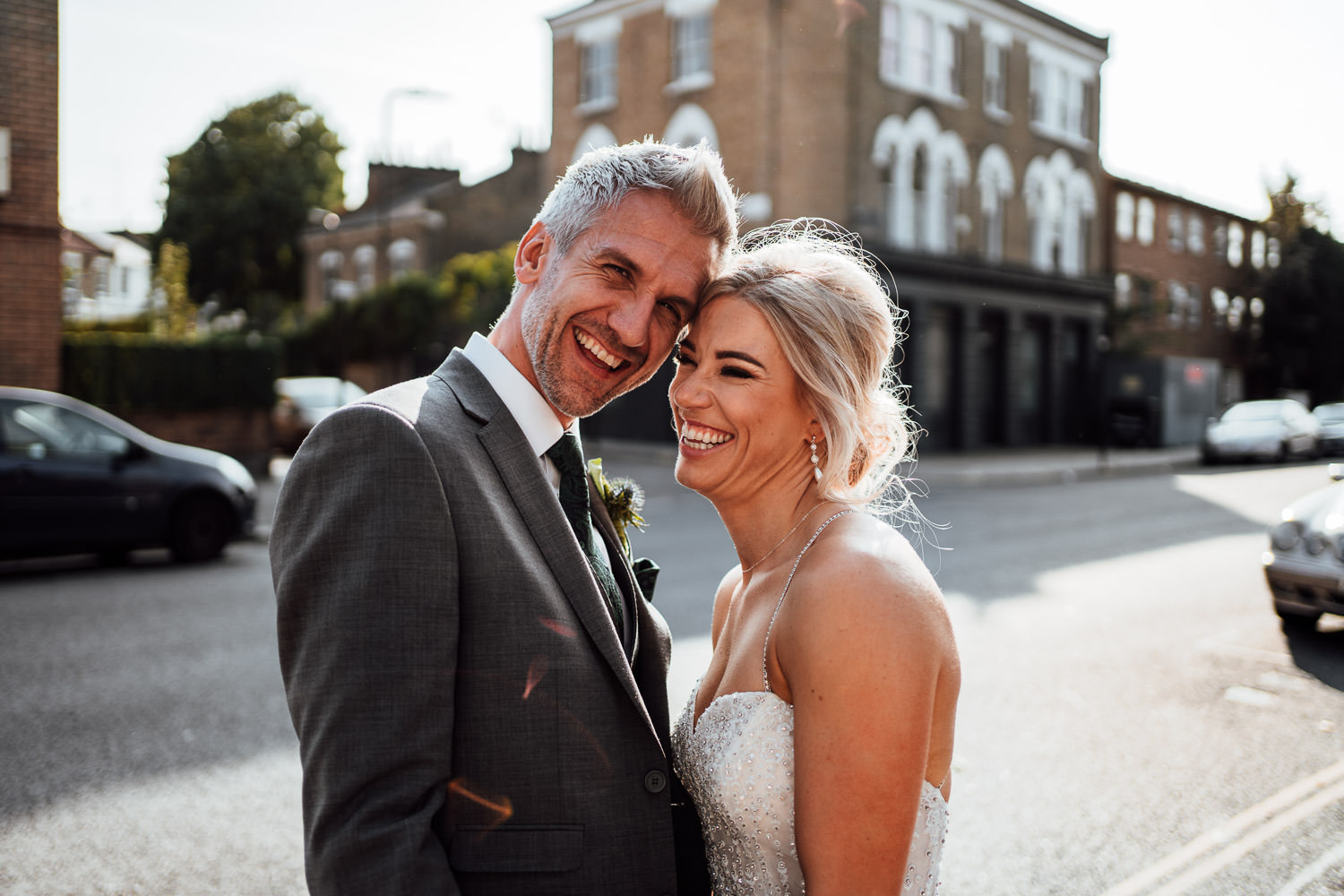 cool bride and groom in the roost pub dalston wedding