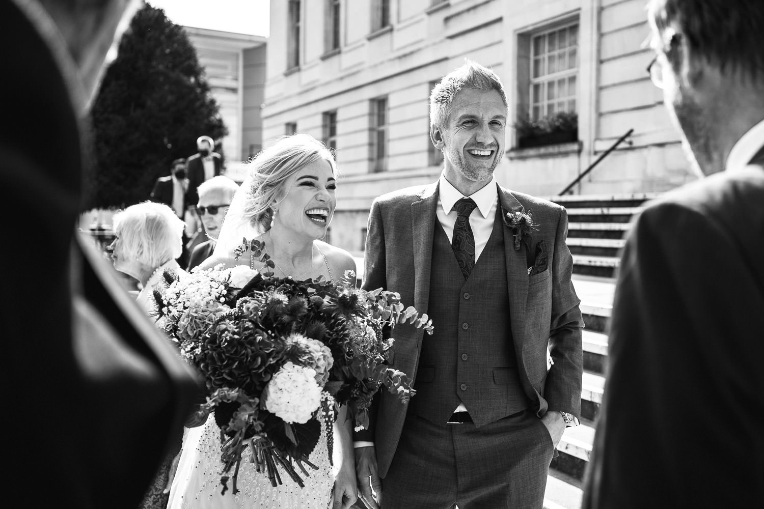 cool bride and groom in dalston pub wedding