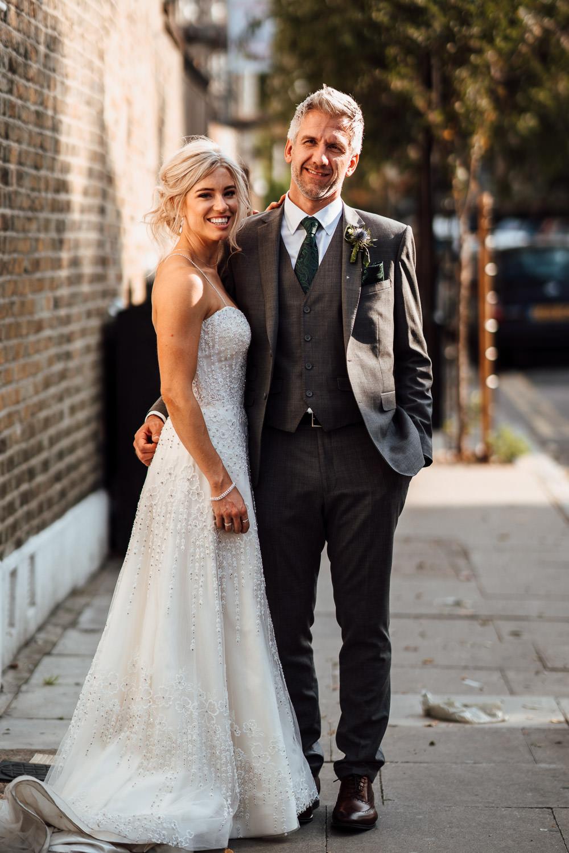 cool bride and groom in london lockdown wedding