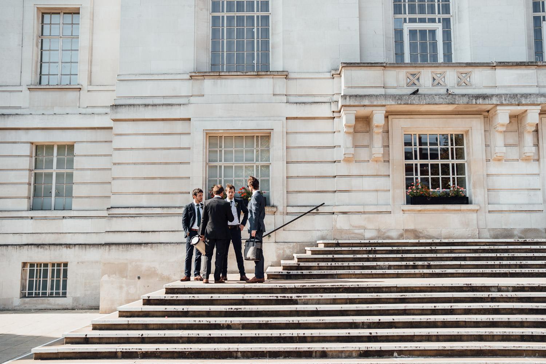groomsmen in hackney town hall wedding