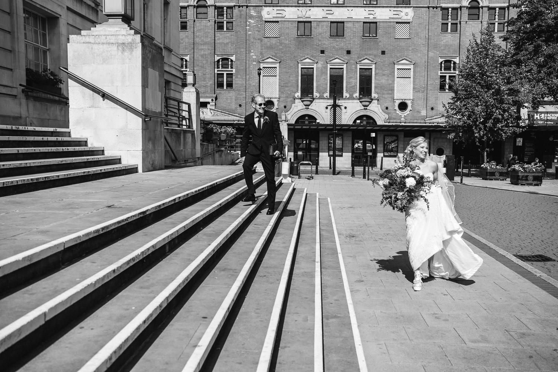 bride arriving at hackney town wedding