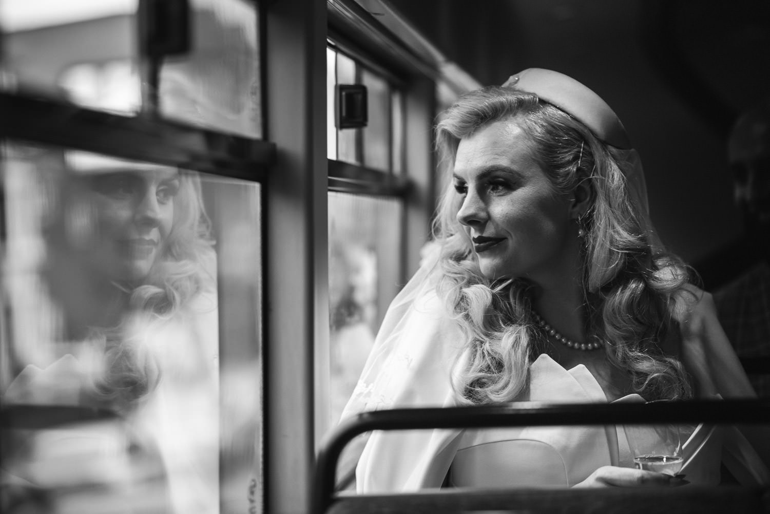 bride travelling on london bus