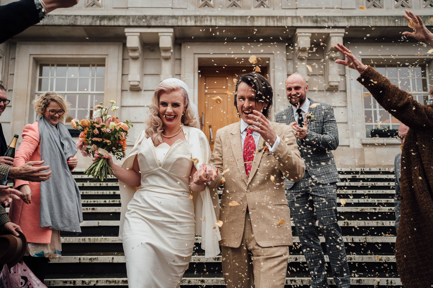 confetti throw at hackney town hall wedding