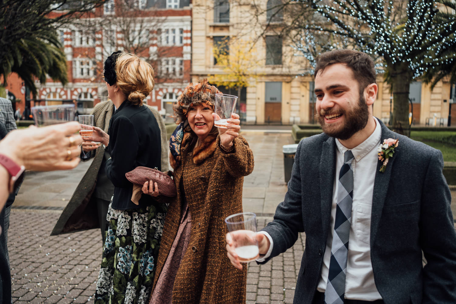 guests celebrating in cool london micro wedding by the shannons photography